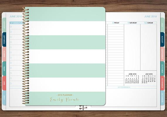 planner 2019 personalized 2018 2019 12 month planner student