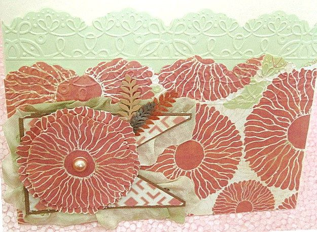 Dimensional Floral and Fabric Handmade OOAK Mother's Day Card by PiecedPaperLove on Etsy