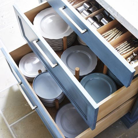 I'll take all of these, please.A quick-to-assemble peg system allows you to move your plates from high-up cabinets to deep, down-low drawers. (The best part: They'll be easier to pull out and put away.)… #cabinetorganizers