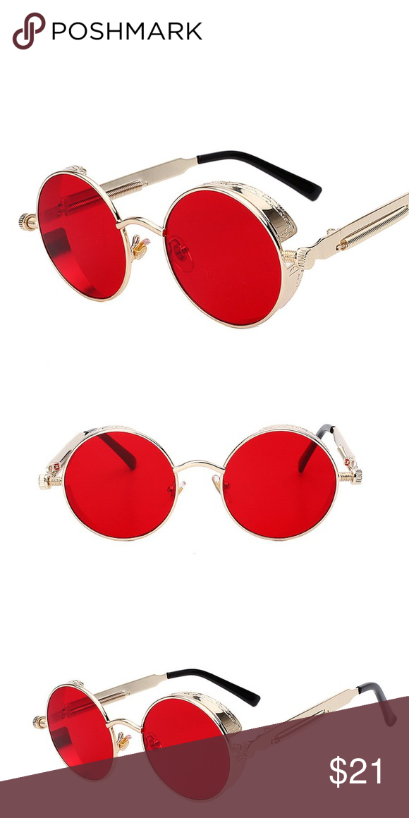 8c2c5419b426 Round Red Old School Gold Frame Sunglasses Round Red Old School Gold Frame  Sunglasses Lens Width 50mm Lenses Material Polycarbonate Style Round Frame  ...