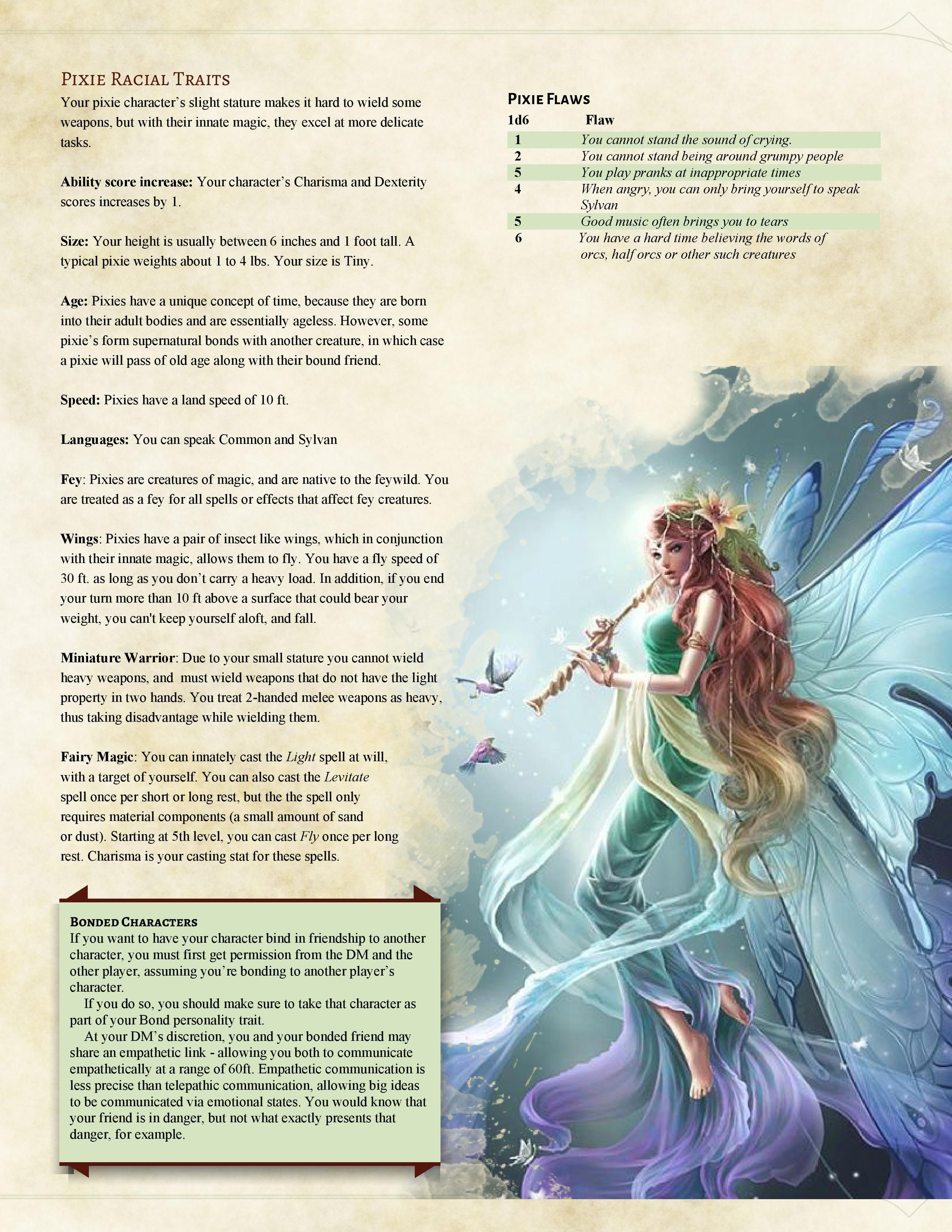 race #pixie | D and D in 2019 | Dnd 5e homebrew, Dnd classes, Dnd races
