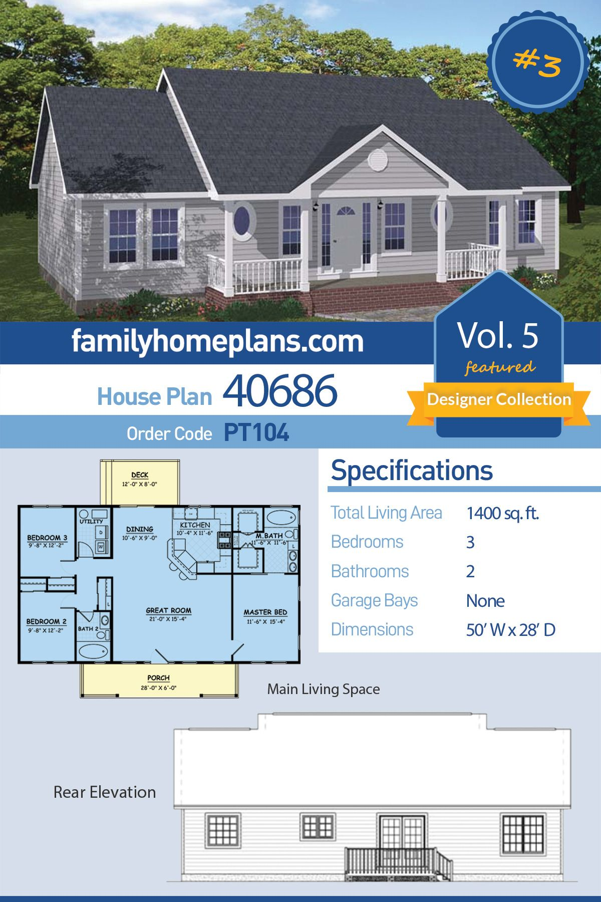 Ranch Style House Plan 40686 With 3 Bed 2 Bath Country Style House Plans Affordable House Plans Ranch Style House Plans