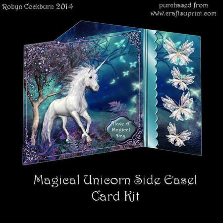 Magical Unicorn Side Easel Card Kit on Craftsuprint designed by Robyn Cockburn - A stunning fantasy scene in a side easel card.