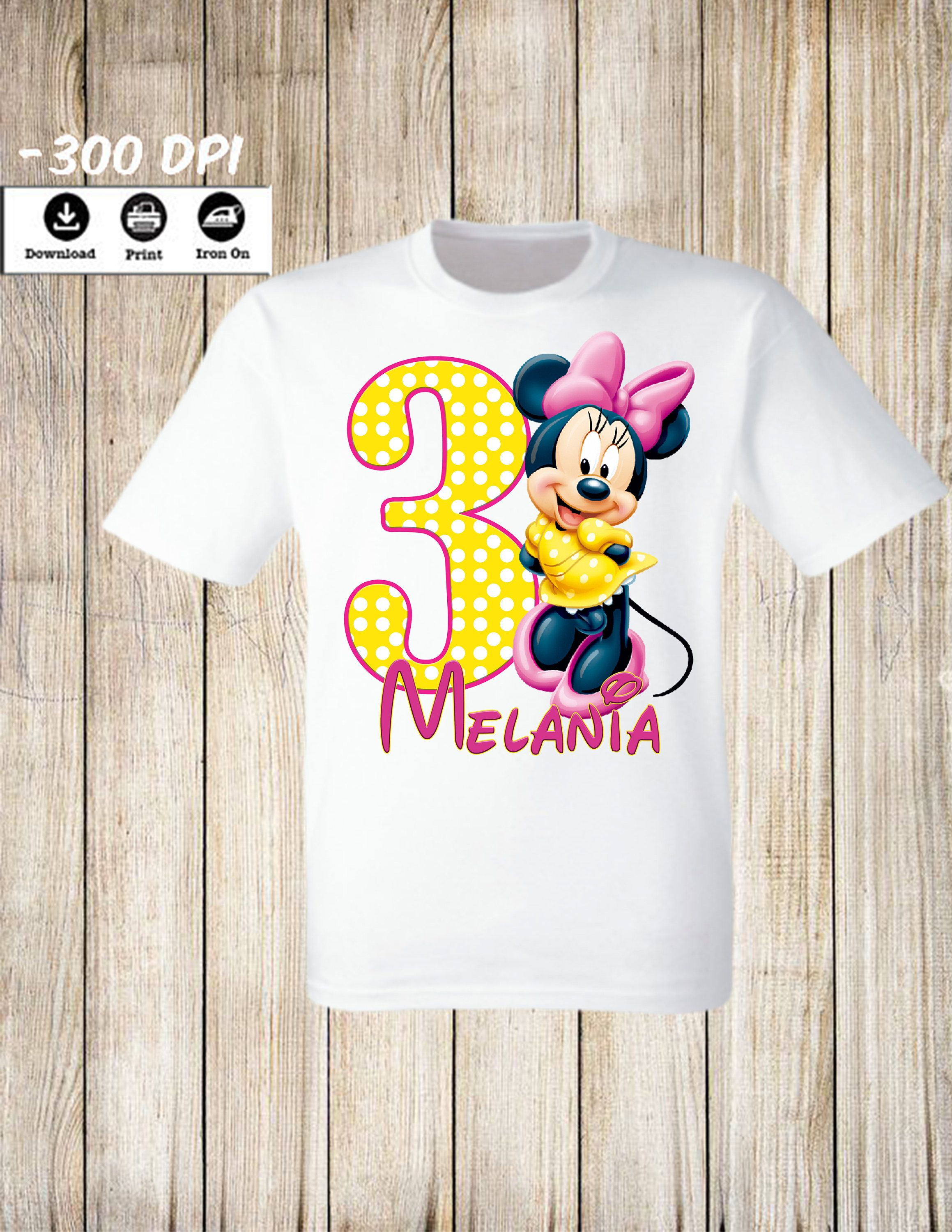 Minnie Mouse Birthday Girl Iron On Transfer Personalized Party Shirt Disney Family DIGITAL FILE By