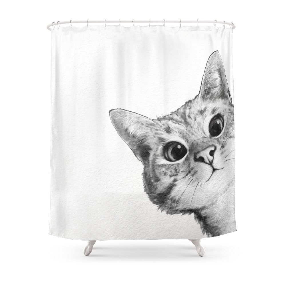 Sneaky Cat Shower Curtain By Lauragraves Cat Shower Curtain