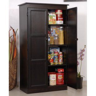 Freestanding Pantry In Espresso Wood Cabinet