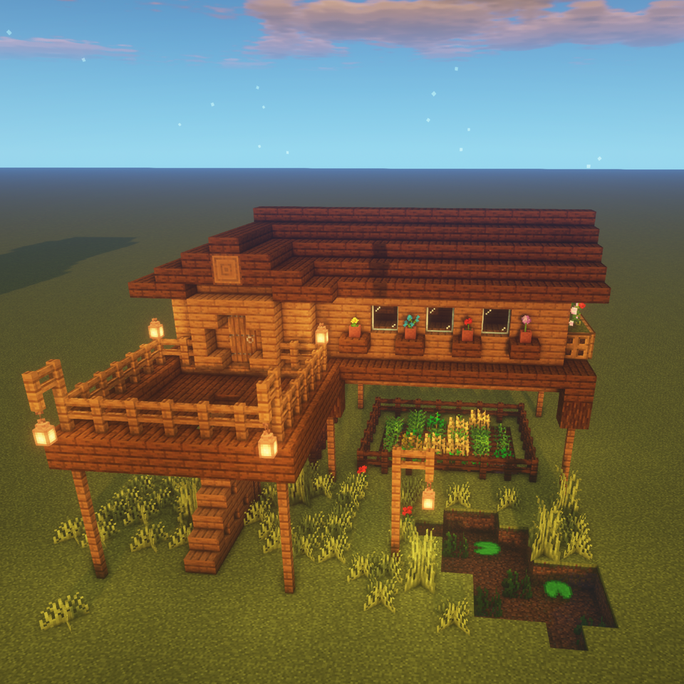 1 Chunk House On Stilts Minecraft Cute Minecraft Houses Minecraft Architecture Cool Minecraft Houses