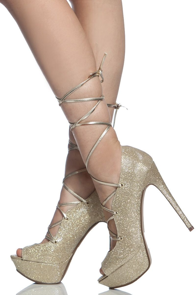 dcbdd1bfd3d8 Gold Glitter Piped Peep Toe Platform Lace Up Heels   Cicihot Heel Shoes  online store sales