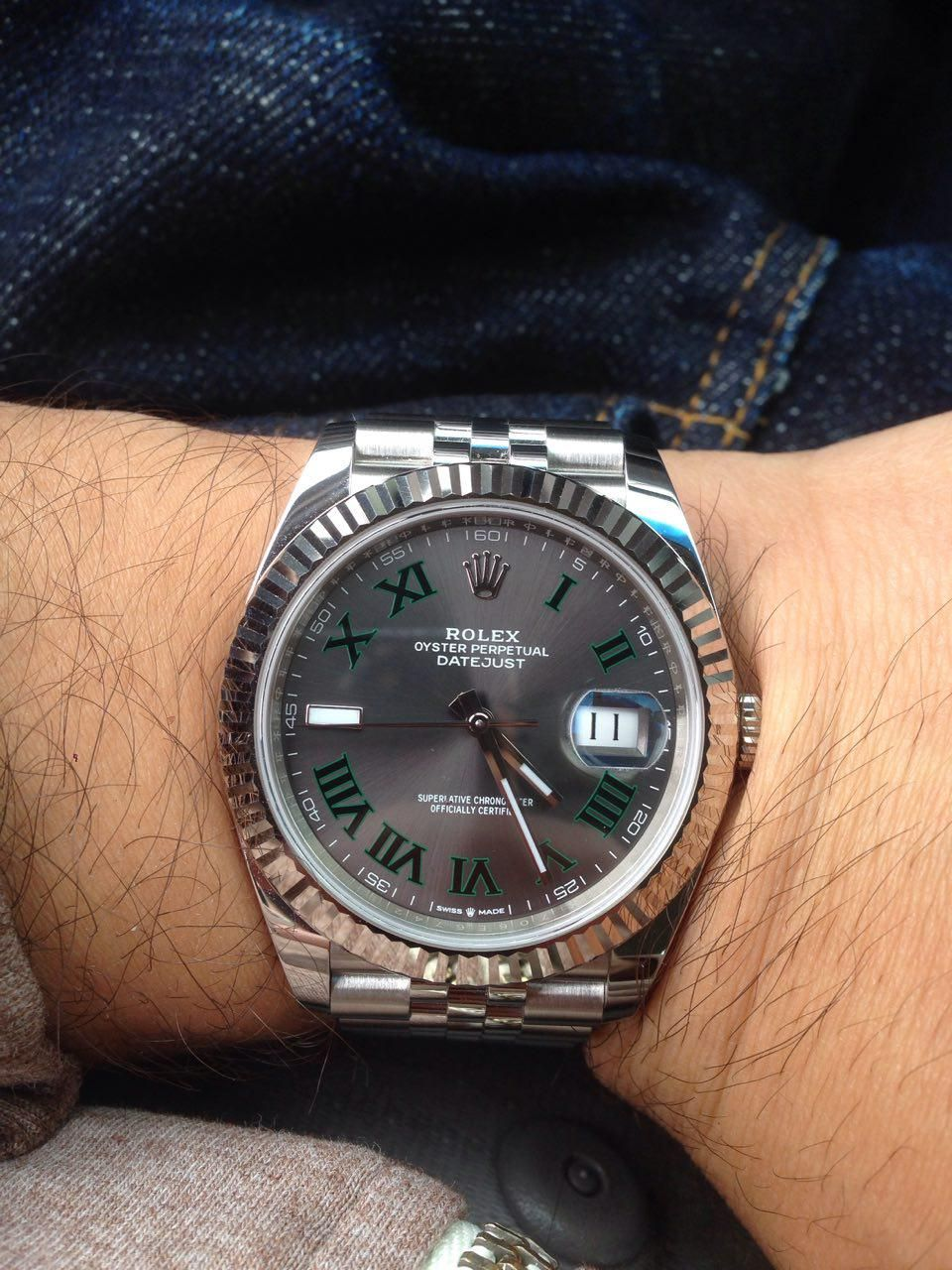 Rolex Datejust 41] 126334 Slate dial with Green/Black Roman