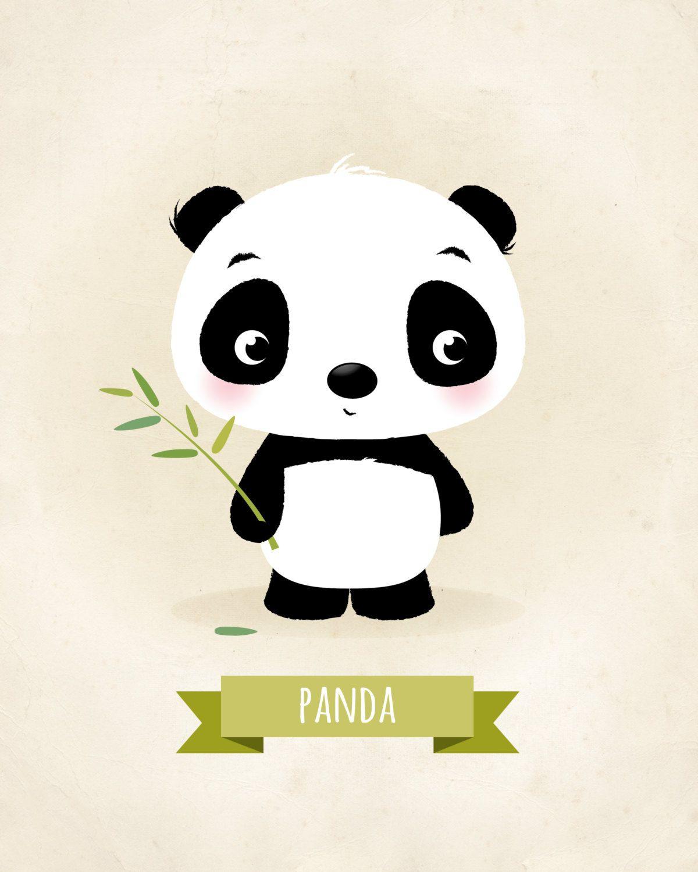 Panda print, Nursery wall art, Animal nursery, Baby ...