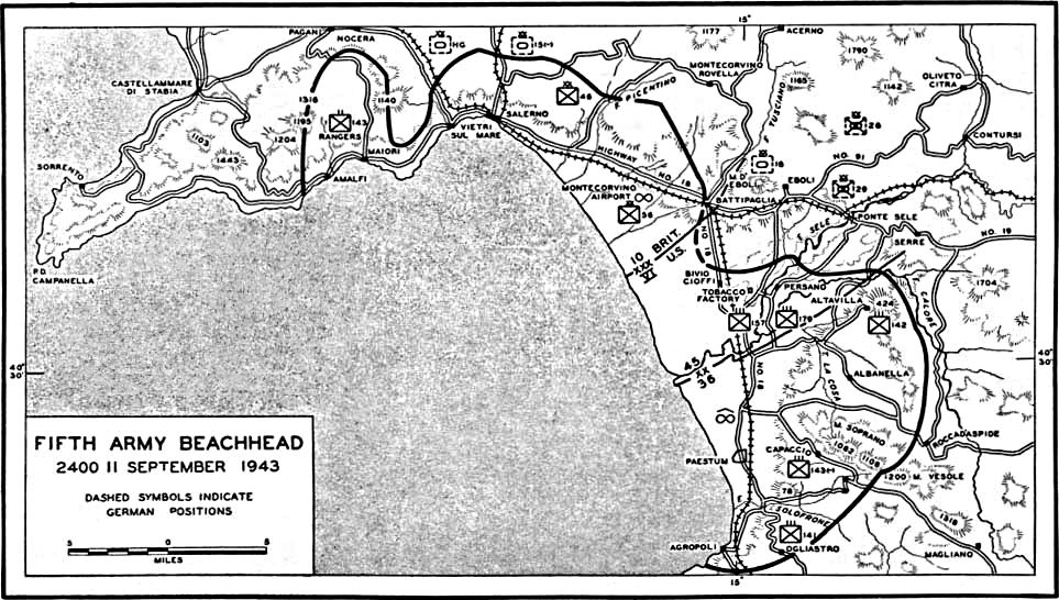 Map] Map depicting Operation Avalanche progress at Salerno Italy as
