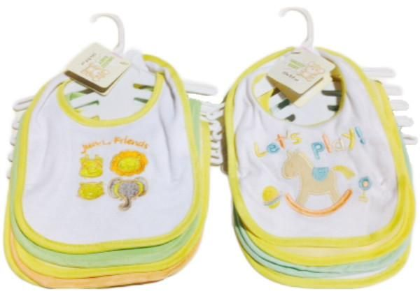Neutral Color Cloth Baby Bibs - 5-Pack - 72 Units