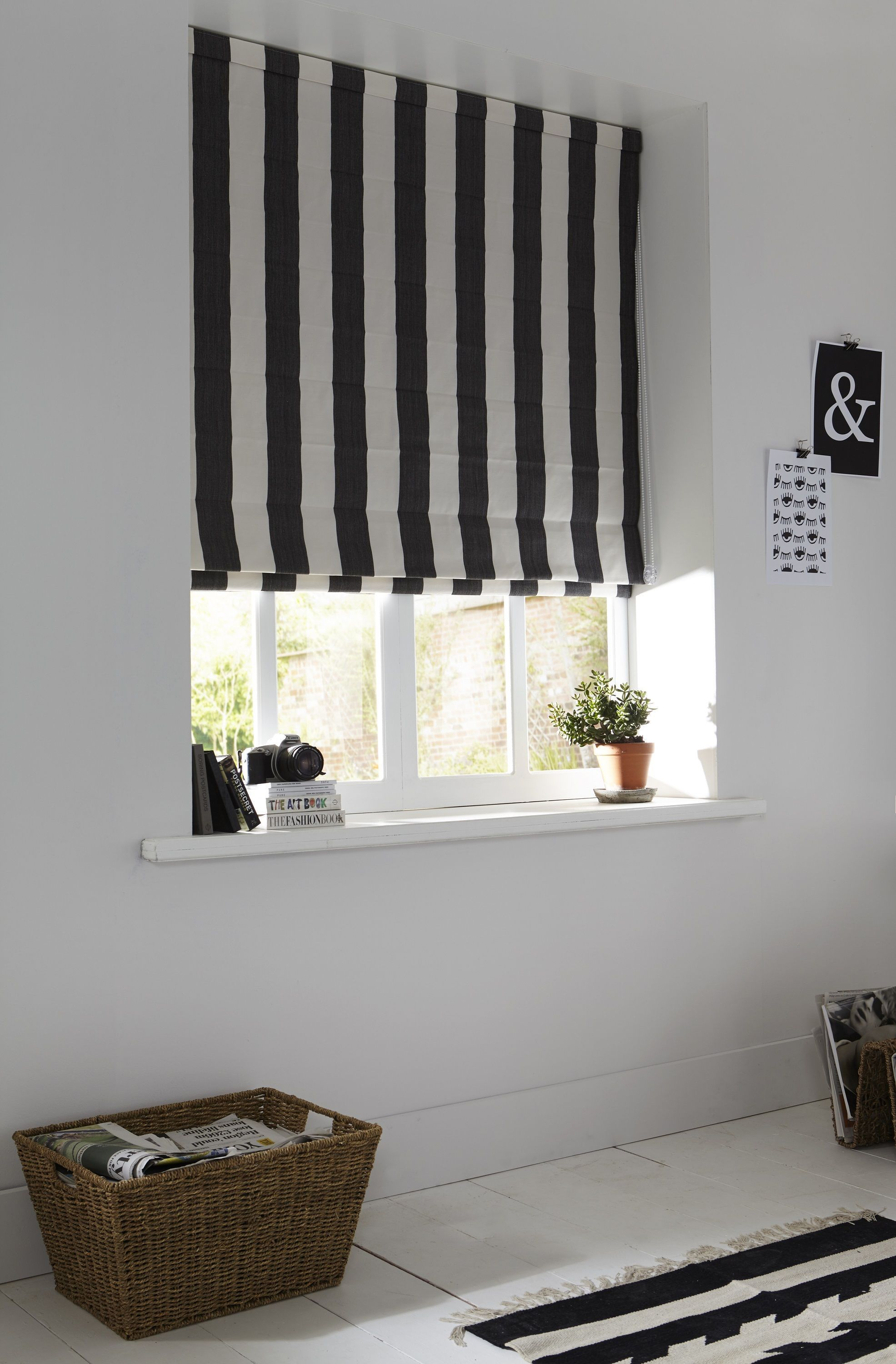 Black And White Monochrome Striped Home Office Roman Blinds With