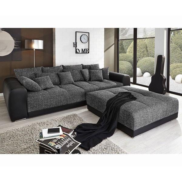 Big Sofa Valeska 310x135 Schwarz Strukturstoff 12 Kissen Mobel Sofas Big Sofas Moderne Couch Grosse Couch Kissen Sofa