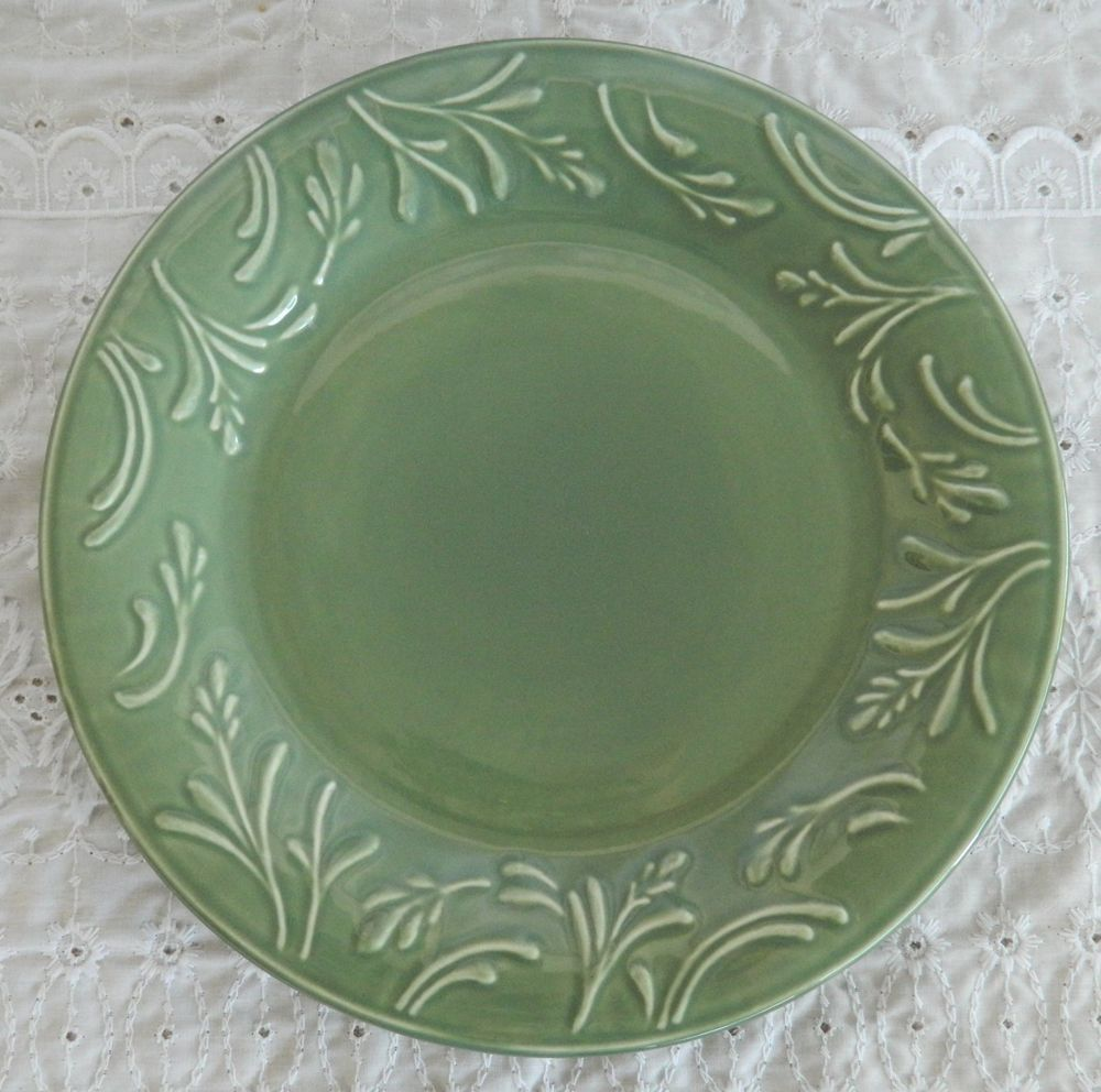 Libbey Stoneware Dinnerware \u0026 Serving Dishes | eBay & Libbey Tableware LIE14 Embossed Wheat Dinner Plates Green Stoneware ...