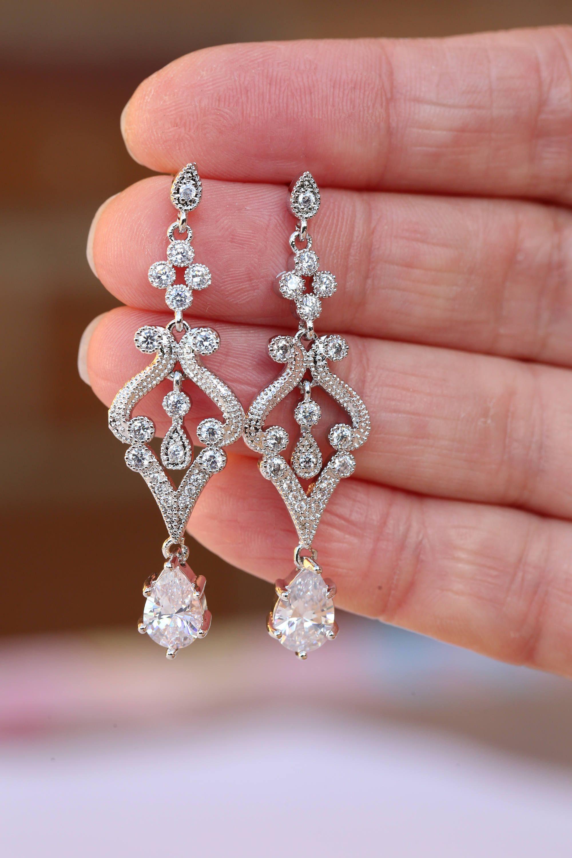 Art Deco Earrings , Vintage Style Crystal Earrings, Bridal Earrings ...