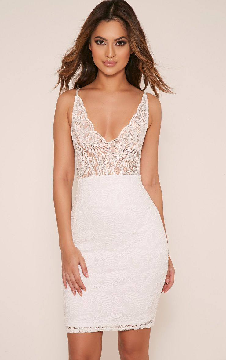 b15ff34dbdd Lucila White Sheer Lace Bodycon Dress