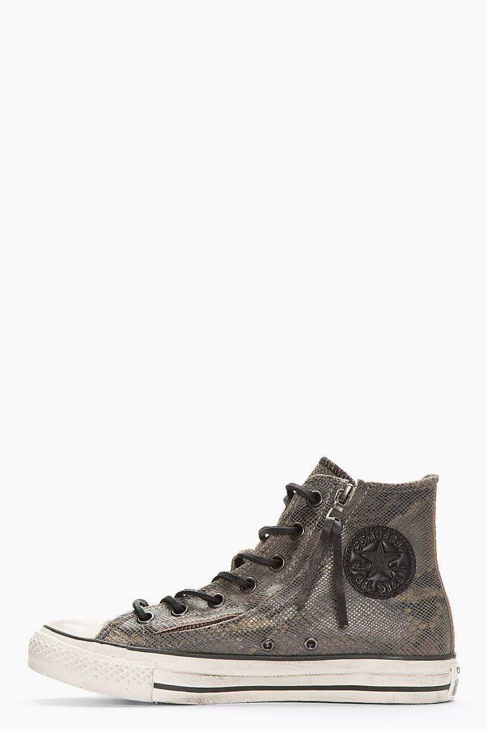 7117a51cfac CONVERSE BY JOHN VARVATOS Dark Grey Snakeskin Suede Zippered Converse X All  Star High-Top Sneakers