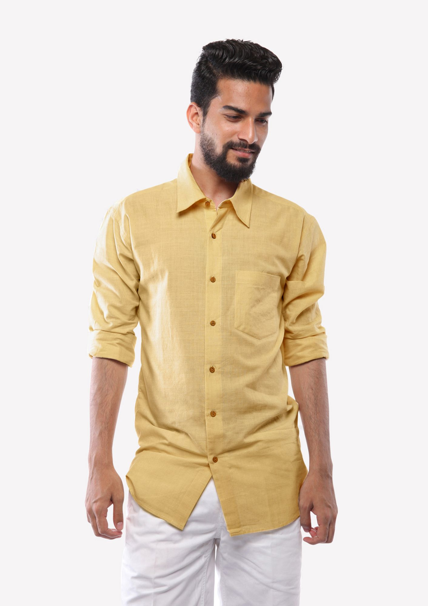 This yellow classic hand woven Khadi shirt is made to accompany you this summer...