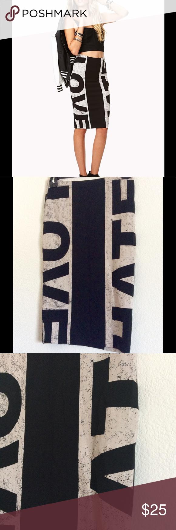 Forever 21 Love Hate BodyCon Midi Skirt NWOT Size Small 97% Cotton 3% Elastane Skirts Pencil