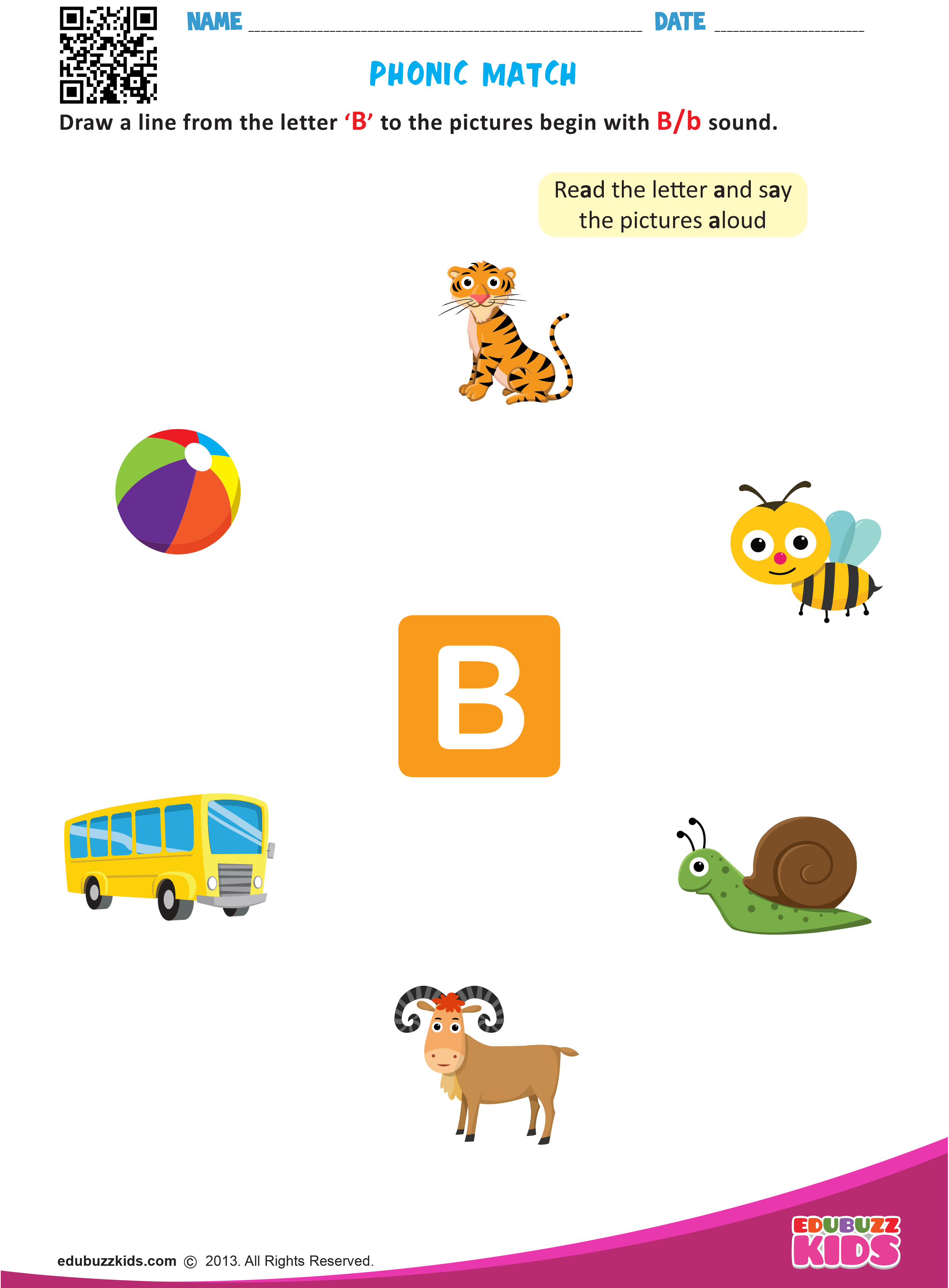 Free English Phonic Match Worksheets That Allow Kids To