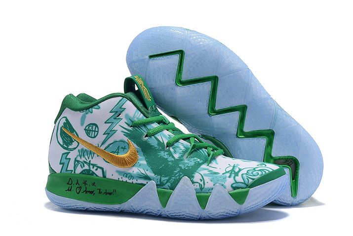 info for 71499 49c75 Nike Kyrie 4 Boston Celtics Green White Gold Basketball Shoes-5