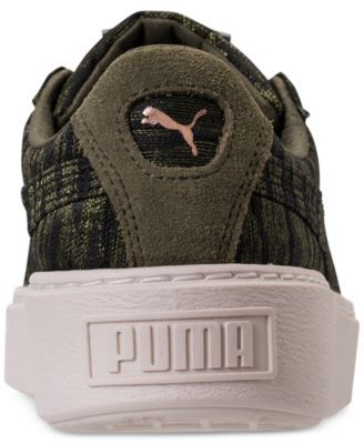 60dfab4cef8 Puma Women s Basket Platform Velvet Rope Casual Sneakers from Finish Line -  Green 8.5