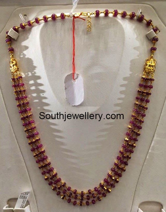 22 carat gold ruby beads necklace with three strings of ruby beads ...