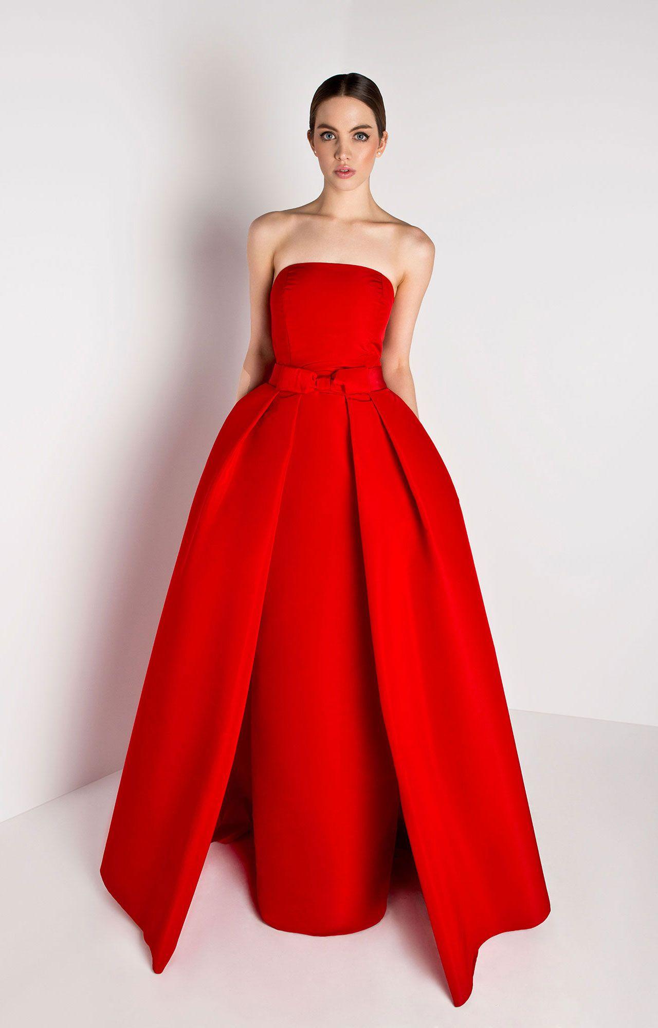 148f60ec238 Silk faille Straight strapless neckline Column skirt with back slit  Concealed back zipper Detachable pleated full skirt with front bow Side  slit pockets ...