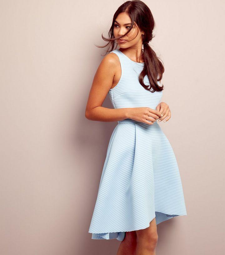 Robe bleu clair en néoprène à ourlet plongeant côtelée   Style ... 56932c9151c5