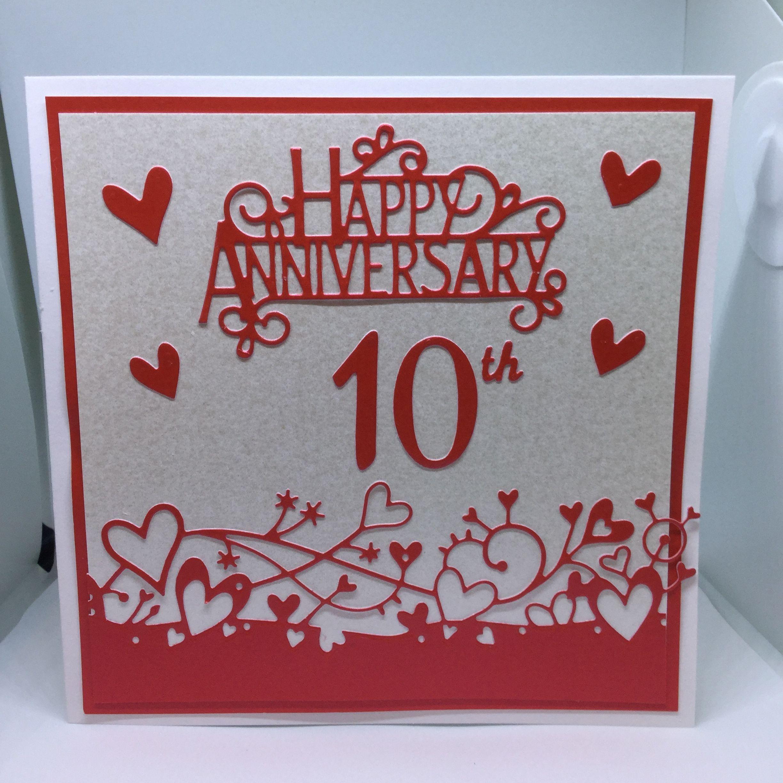 10th Anniversary Card 10th Anniversary Handmade Card 10th Anniversary Card Design Make Wedding Inv Anniversary Cards Wedding Anniversary Cards Cards Handmade
