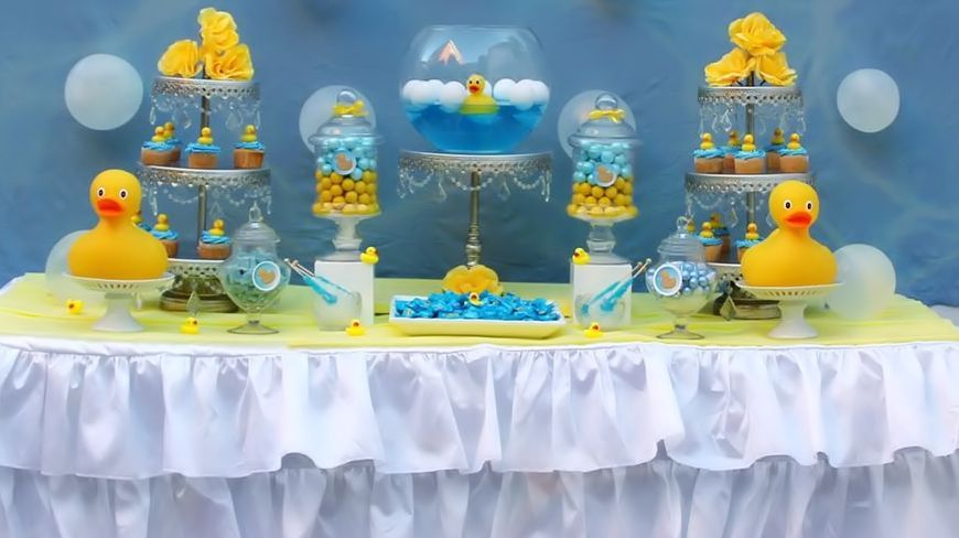Rubber Duckie Candy Buffet Blue Yellow White Rubber Ducky Baby Shower.