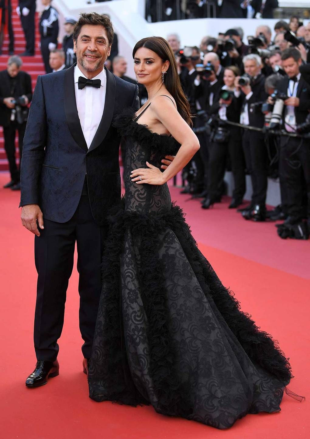 Penelope Cruz in vintage Chanel and Atelier Swarovski fine jewellery and Javier  Bardem in Ermenegildo Zegna Couture.  Everybody Knows  premiere and opening  ... f08bdd99ad7