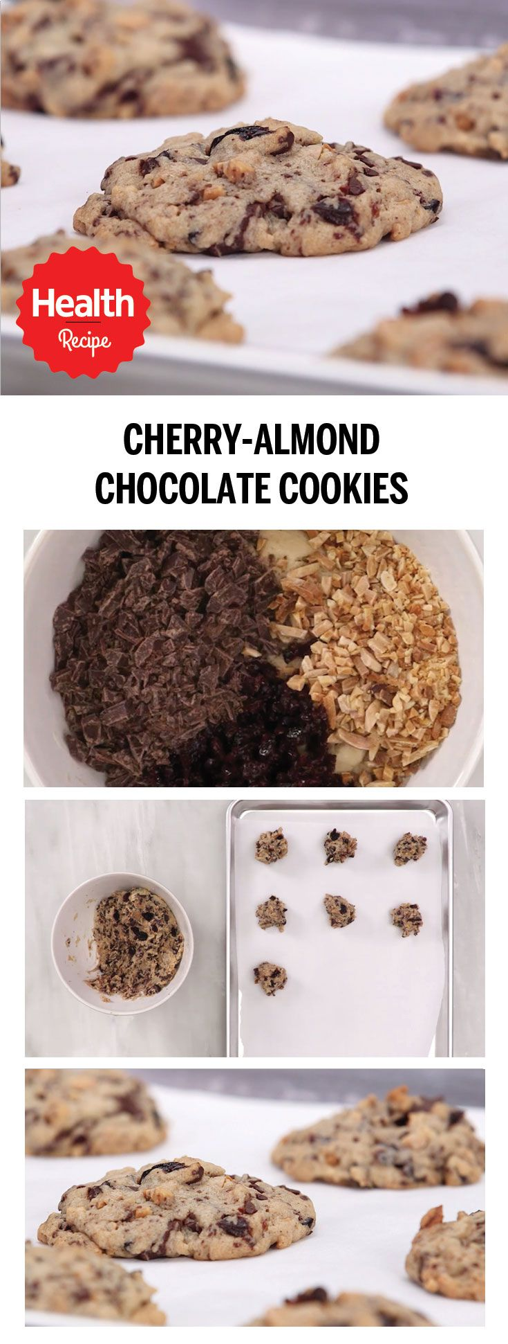 These festive holiday cookies are made with almonds, chocolate, and cherries, a delicious combination that will delight your taste buds and please even the pickiest holiday guest. | Health.com