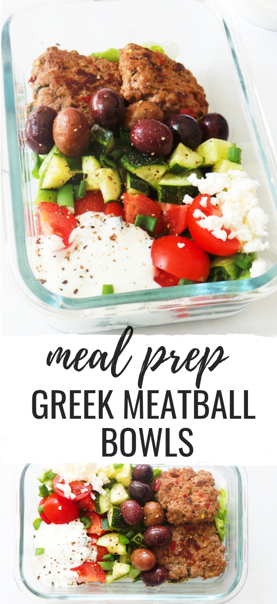 Greek Meatball Bowls | Low Carb Meal Prep images