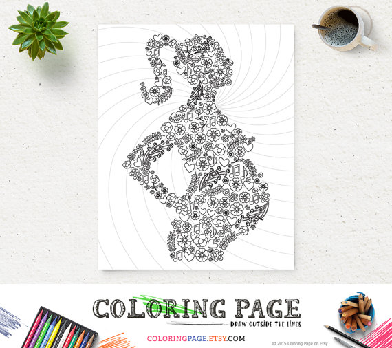 Coloring Page Mom To Be Printable Art Instant Download Print Zen Adult Book