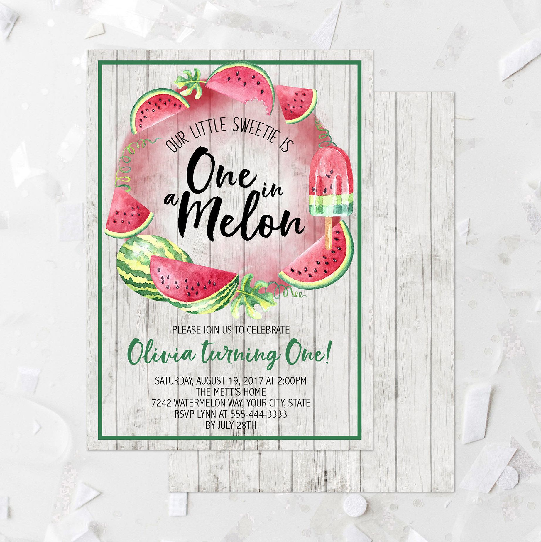 Watermelon First Birthday Party Invitation Printable e In A