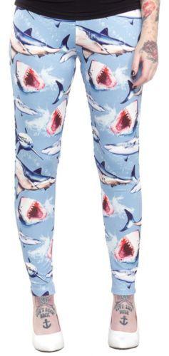 Sourpuss Clothing Shark Bait Leggings in Blue Size 2XL