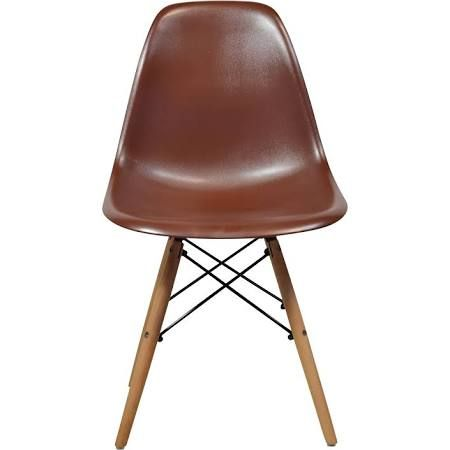 Eames Style Mid Century Modern Brown Side Chair (India) (Wood Dowel Base) (Metal)