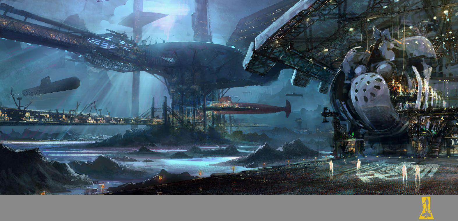 Futuristic Underwater Spaceship People Station Spacestation Underwater City Concept Art Underwater