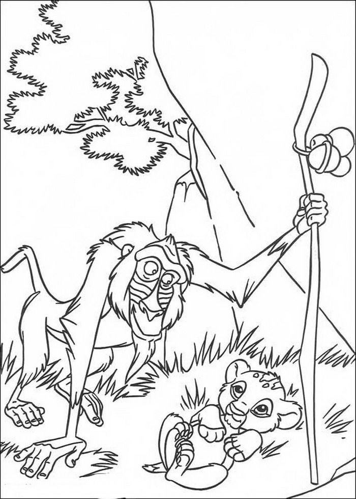 Kleurplaten Leeuwenkoning 2.Kleurplaat Lion King Of De Leeuwenkoning Rafiki En De Net