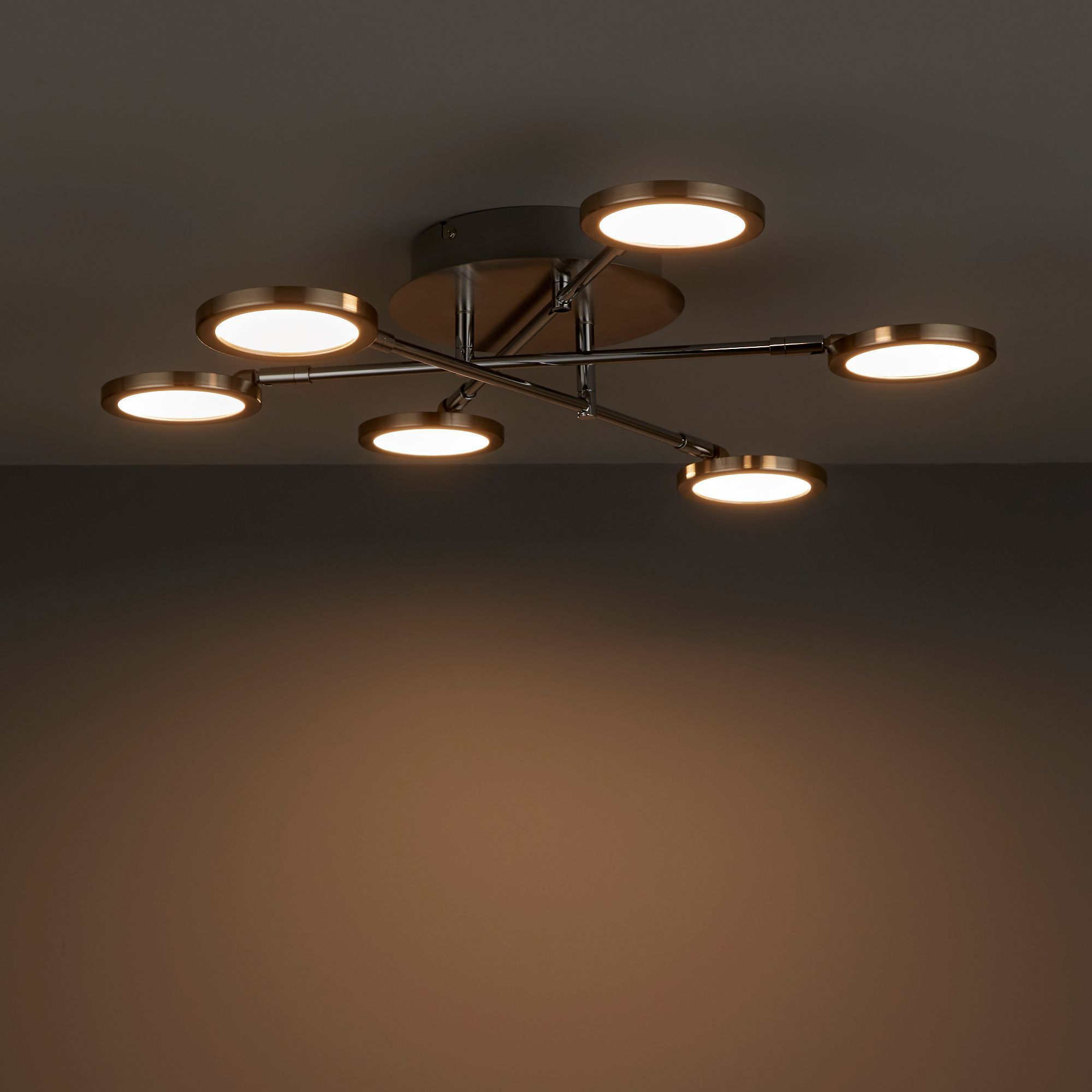 Equium Brushed Chrome Effect 6 Lamp Ceiling Light B Q For All Your Home And Garden Supplies And Advice Ceiling Lights Low Ceiling Lighting Ceiling Lights Diy Bq living room lights