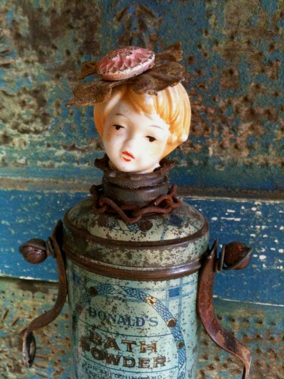 Vintage Tin Steampunk Assemblage Art Doll by Salvage Art Sweetheart #Etsy