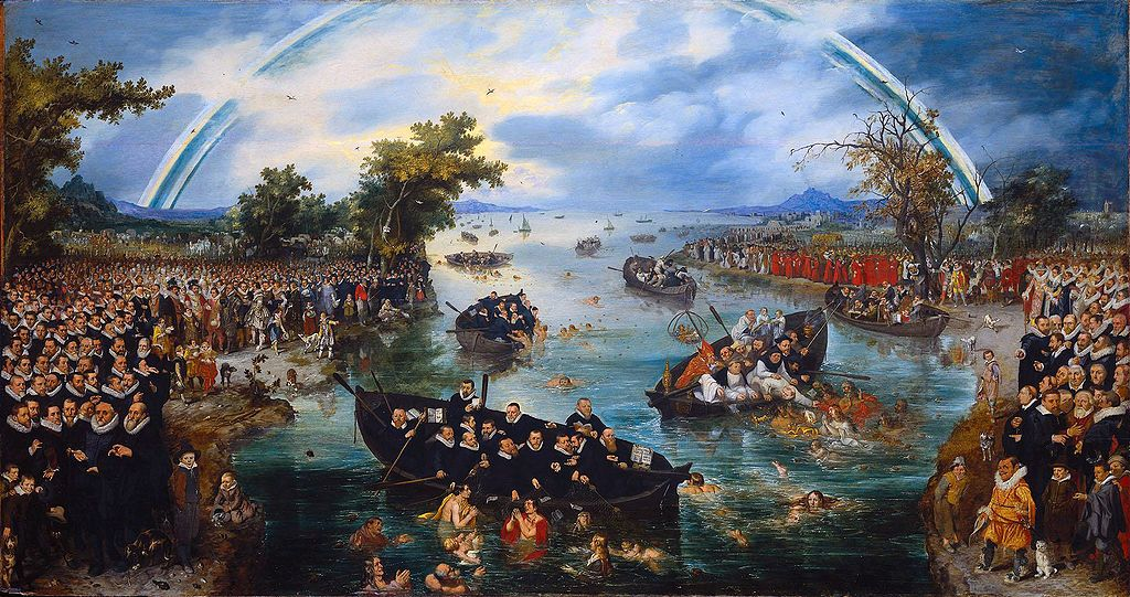 De zielenvisserij, Adriaen Pietersz. van de Venne, 1614  olieverf op paneel, h 98,5cm × b 187,8cm.  Links staan de protestantse Noord-Nederlanders, rechts de rooms-katholieke zuiderlingen. In de brede rivier die hen scheidt, vissen beide partijen naar zielen.
