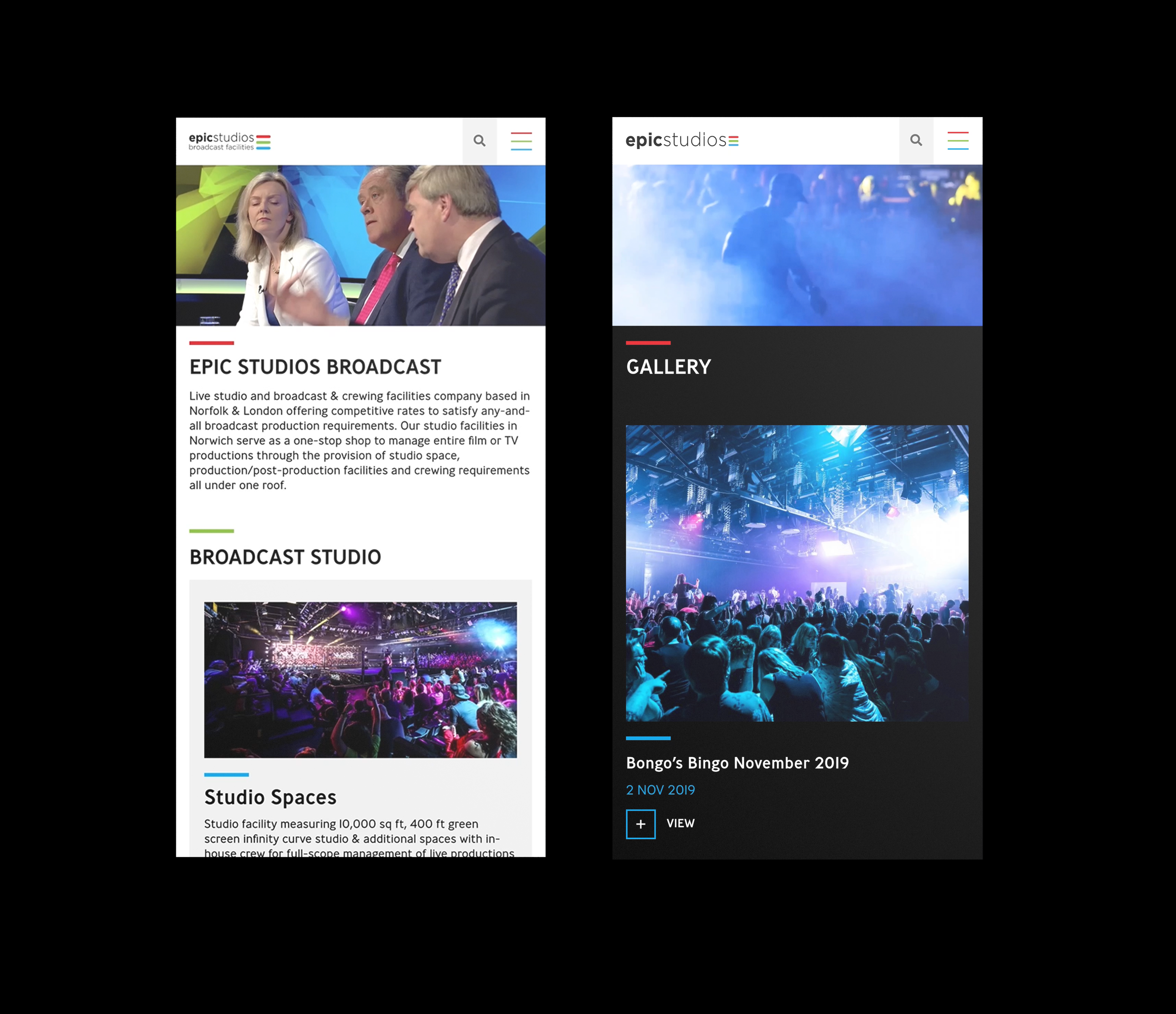 Website Design For Mobile Epic Studios Website Design Graphic Design Website Design