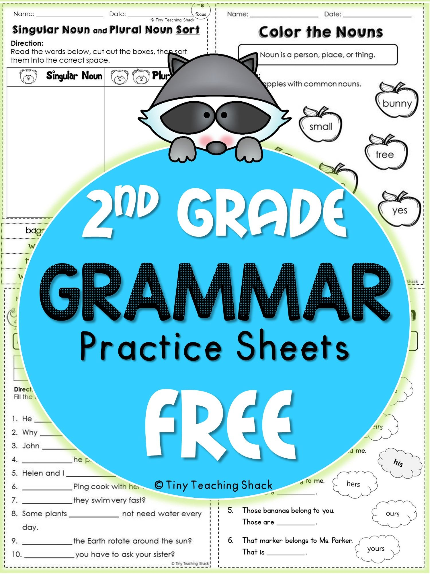 2nd Grade Language Arts and Grammar Practice Sheets Freebie (Common ...