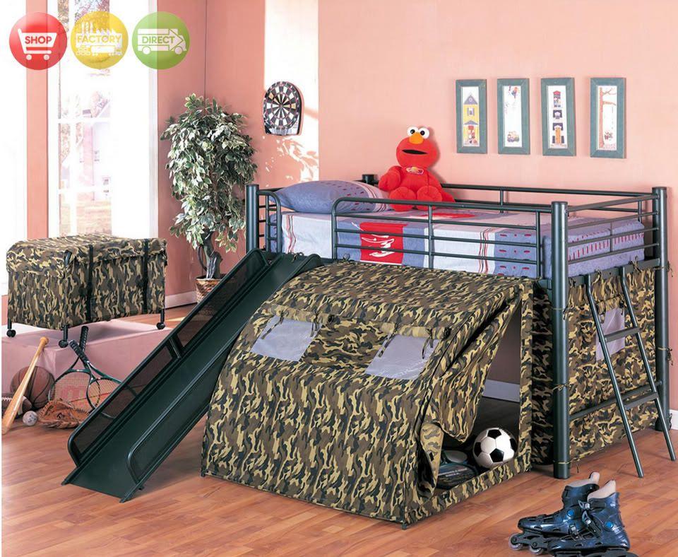 Kids Tent Loft Bunk Bed Fort Bedroom W Slide Toy Chest Little Man