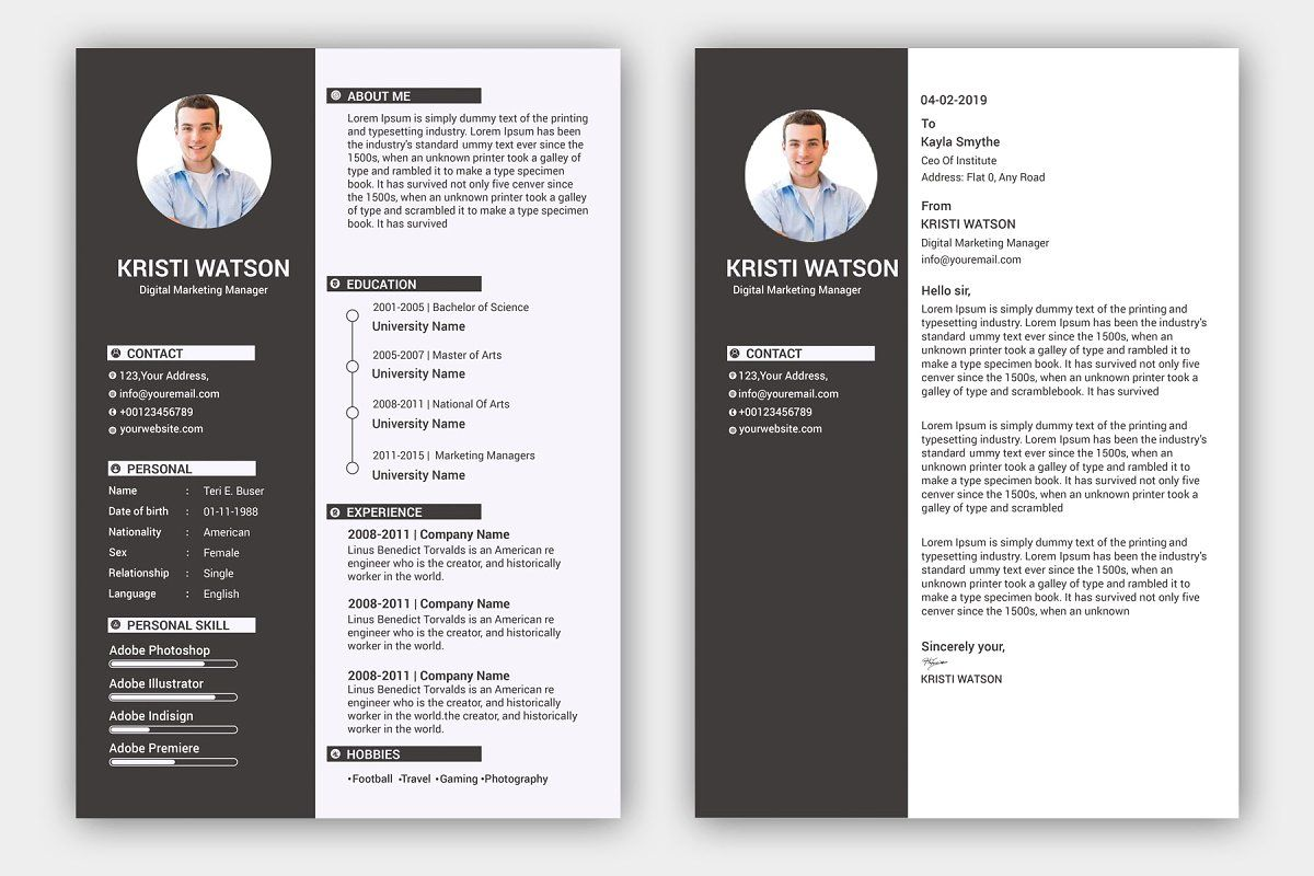 Resume Template / CV in 2020 Resume template, Cover