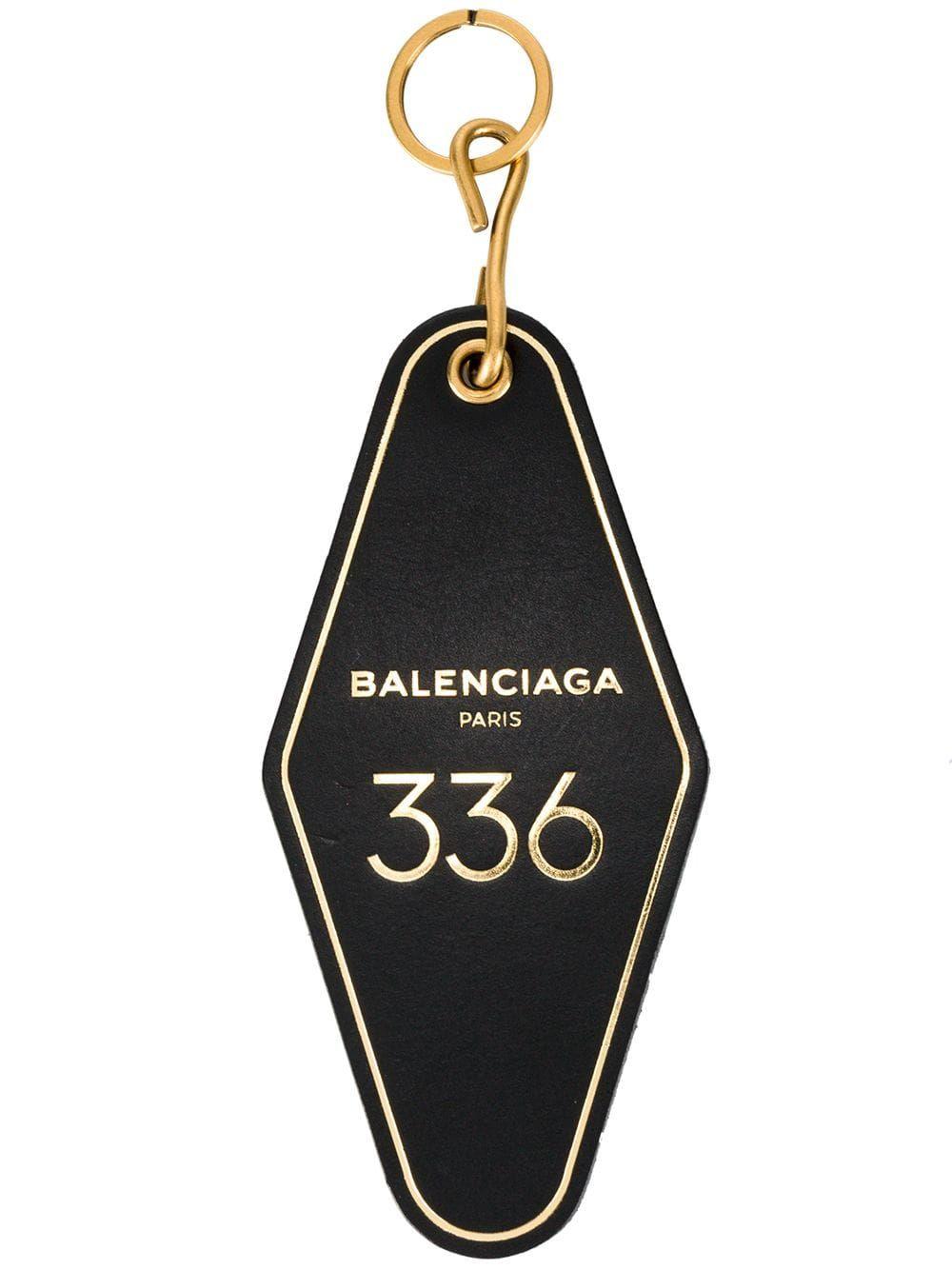 Balenciaga Black Hotel Key Tag Keyring Key Tags Balenciaga Keyrings