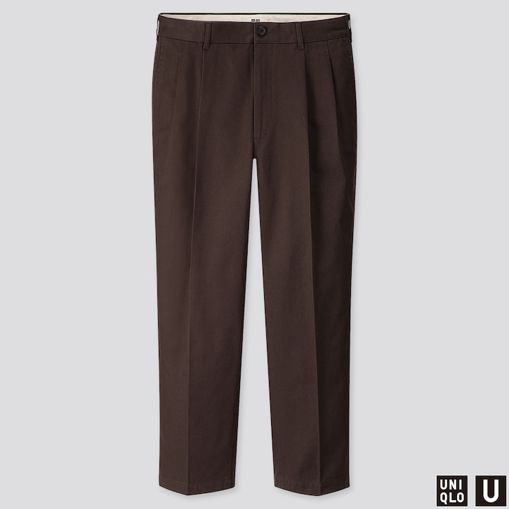MEN/'S BROWN PLEATED DRESS PANTS SLACKS TROUSERS BROWN BELT CUFFED BOTTOMS